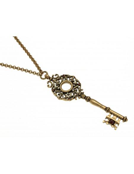 collana stile antico chiave portafortuna perle e granati