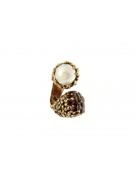 anello stile antico perle e granati contrarier