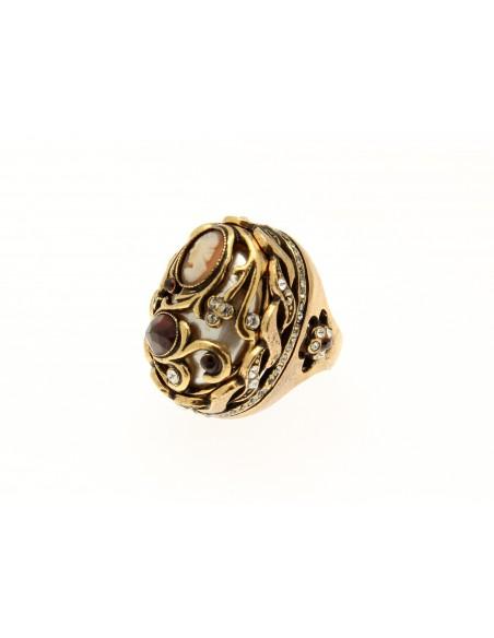 anello stile antico madreperla granati e cammeo