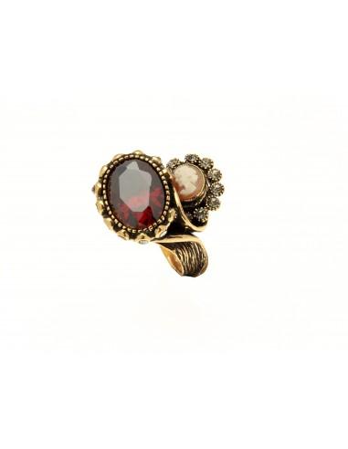 anello stile antico cammeo e granati contrarier