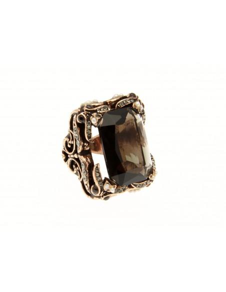 anello stile antico pietra fumè strass perle
