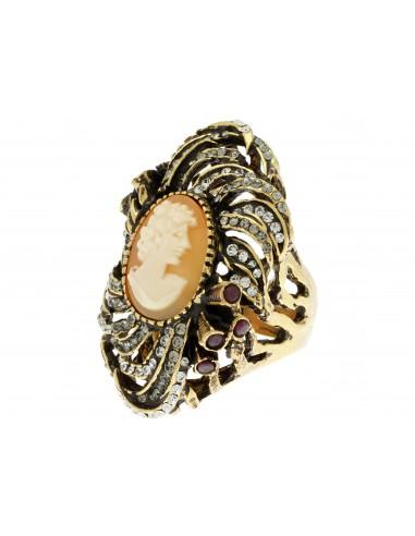 anello stile antico cammeo strass e rubini