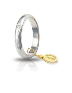 fede matrimoniale classica UNOAERRE oro bianco diamante kt.0.03 gr.5 mm.3,6
