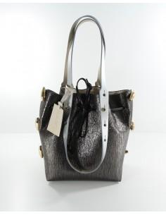 secchiello piccolo TWIST BAG laminato nero e beige