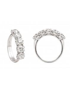 anello fedina 5 pietre ANNIVERSARY RECARLO kt. 0,90 diamanti e oro bianco