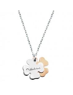 SALVINI Minimal collier quadrifoglio oro bianco e rosa 9kt più diamante da kt.0.01