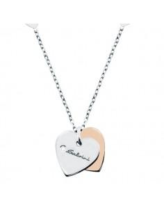 SALVINI Minimal collier Cuore oro bianco e rosa 9kt più diamante da kt.0.01