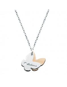 SALVINI Minimal collier Farfalla oro bianco e rosa 9kt più diamante da kt.0.01