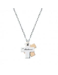 SALVINI Minimal collier Croci oro bianco e rosa 9kt più diamante da kt.0.01
