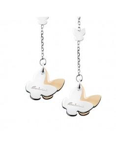 SALVINI Minimal Orecchini Farfalle oro bianco e rosa 9kt più diamante da kt.0.02