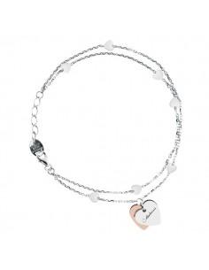 SALVINI Minimal Bracciale Cuore oro bianco e rosa 9kt più diamante da kt.0.01