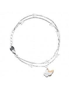 SALVINI Minimal Bracciale Farfalle oro bianco e rosa 9kt più diamante da kt.0.01