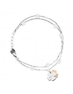SALVINI Minimal Bracciale Quadrifoglio oro bianco e rosa 9kt più diamante da kt.0.01