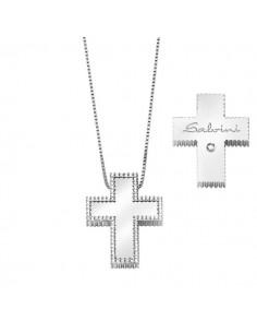 SALVINI collezione I SEGNI Croci contorno diamanti kt.0.23 oro bianco