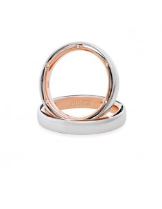 Fede matrimoniale BIBIGI' in oro bianco e rosa con 12 diamanti esterni KT totali 0.05 GR.5.04