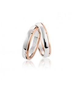 Fede matrimoniale BIBIGI' in oro bianco e rosso GR. 4,20