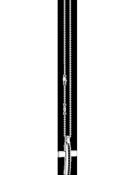 croce argento 925 ZANCAN Insigna spinelli neri con catena