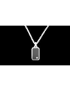 collana ZANCAN HITECH, in acciaio lucido satinato, pvd NERO, zaffiro bianco