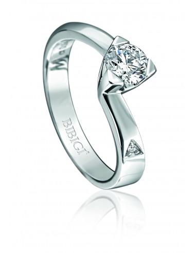 anello solitario LOUVRE kt.0.15 diamante e oro bianco