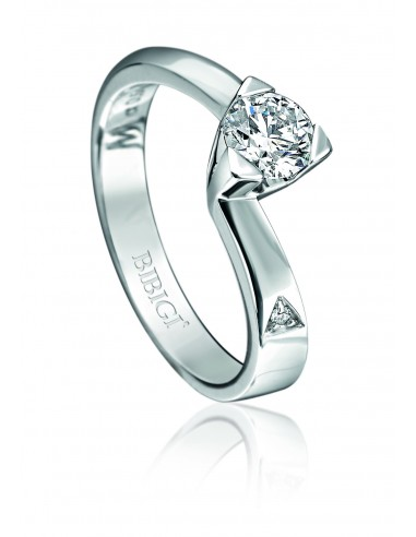 anello solitario LOUVRE kt.0.20 diamante e oro bianco