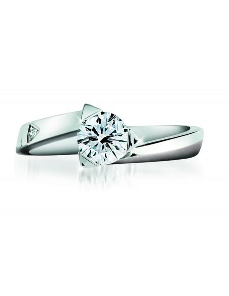 anello solitario LOUVRE kt.0.40 diamante e oro bianco