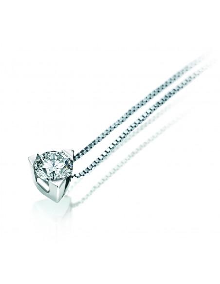 collana solitario LOUVRE kt.0.15 diamante e oro bianco