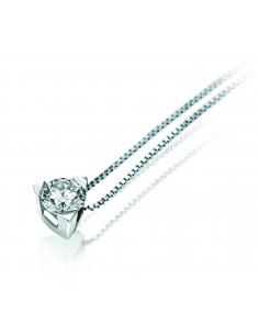 collana solitario LOUVRE kt.0.20 diamante e oro bianco