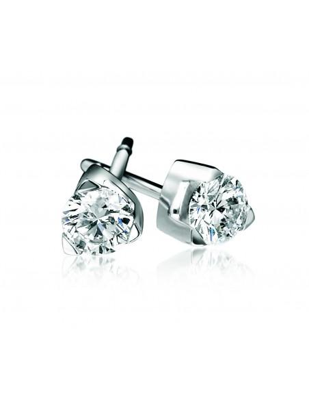 orecchini solitario LOUVRE kt.0.16 diamanti e oro bianco