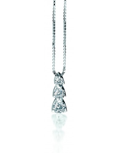 collana trilogy LOUVRE kt.0.26 diamanti e oro bianco