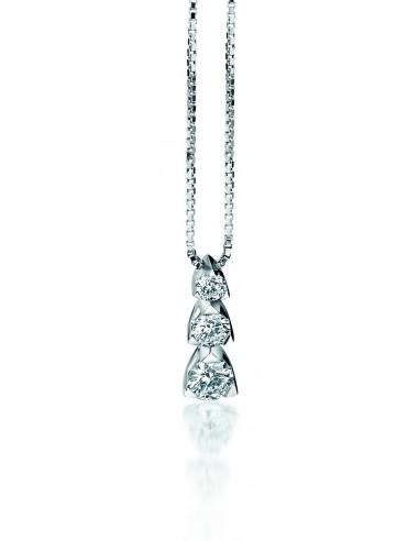 collana trilogy LOUVRE kt.0.30 diamanti e oro bianco