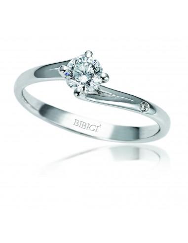 anello solitario VALENTINE kt.0.20 diamante e oro bianco
