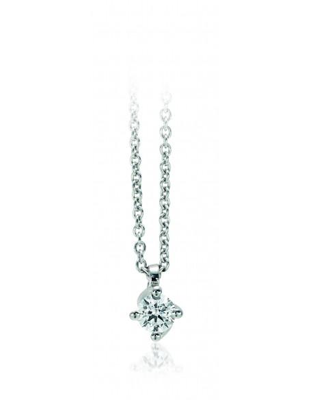 collana solitario VALENTINE kt.0.15 diamante e oro bianco