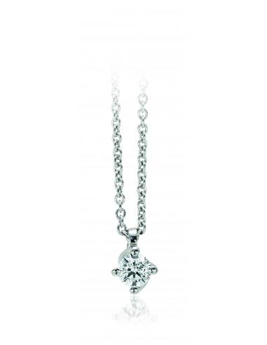 collana solitario VALENTINE kt.0.20 diamante e oro bianco