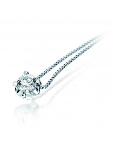 collana solitario ELLE kt.0.25 diamante e oro bianco