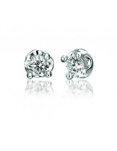 orecchini solitario ELLE kt.0.16 diamanti e oro bianco