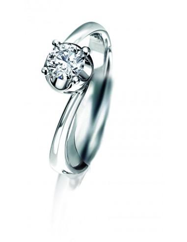anello solitario ELLE kt.0.15 diamante e oro bianco