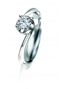 anello solitario ELLE kt.0.25 diamante e oro bianco