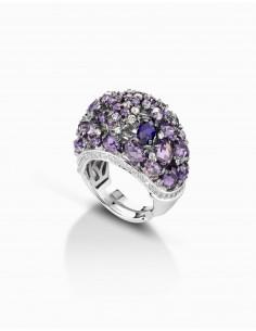anello argento fantasia ametista