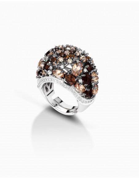 anello argento fantasia ambra