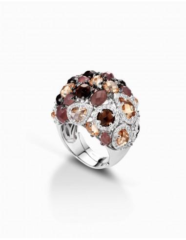 anello argento fantasia ambra cuori