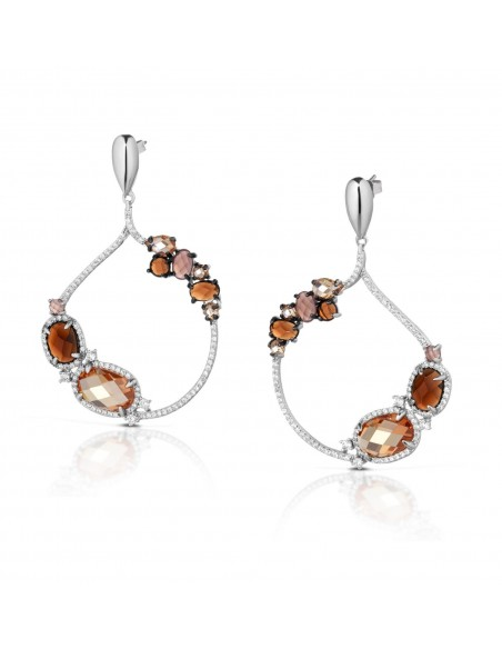 orecchini argento fantasia ambra