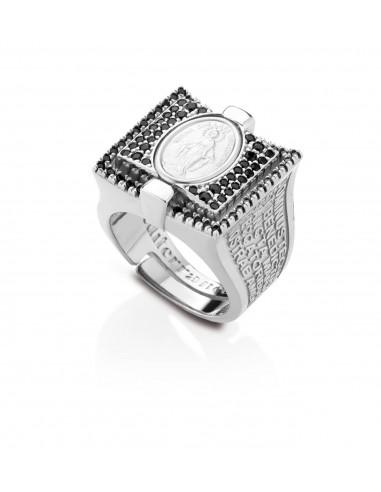 anello argento sacro smalti incisi