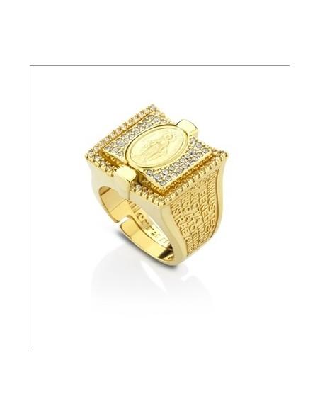 anello argento sacro doratura