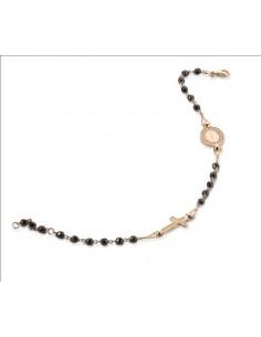 bracciale argento rosè sacro icone zirconi neri