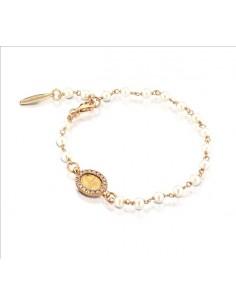 bracciale argento rosè sacro icone e perle