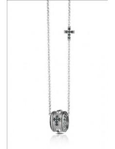 collana argento rosario croce zirconi neri