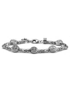 bracciale argento uomo cristalli neri