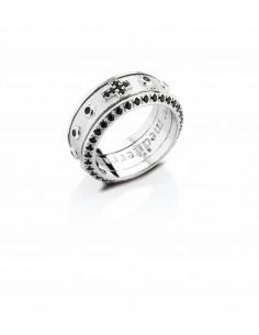 anello rosario argento e zirconi neri