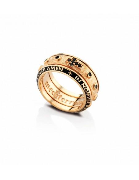 anello rosario argento smalti e zirconi neri dorato