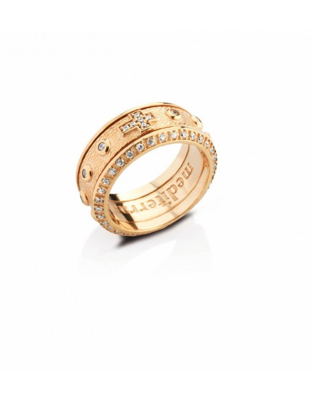 anello rosario argento e zirconi dorato